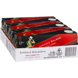Photo of Johnnie Walker Red Label & Cola Cans 4.6% 375ml 3x10 Pack