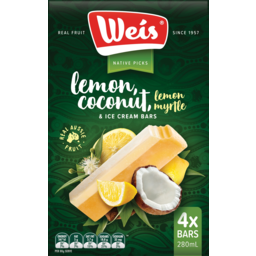 Photo of Weis Lemon Coconut Lemon Myrtle & Ice Cream Bars 4 Pack 280ml