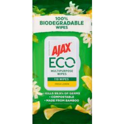 Photo of Ajax Eco Respect Multipurpose Wipes Antibacterial Fresh Lemon 110pk