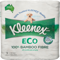 Photo of Kleenex Eco 100% Bamboo Fibre Toilet Tissue 9 Pack