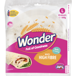 Photo of Wonder White Wonder Hi Fibre Soft White Wraps 8 Pack 312g