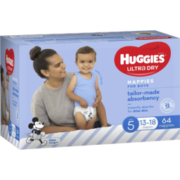 Photo of Huggies Ultra Dry Nappies, Boys, Size 5 Walker (13-18kg), 64 Nappies Jumbo Packs