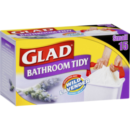 Photo of Glad Bathroom Tidy Drawstring Bags Wild Lavender Small 15 Pack
