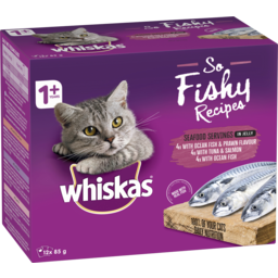 Photo of Whiskas So Fishy Recipes Wet Cat Food Seafood Servings In Jelly 12x85g Pouches