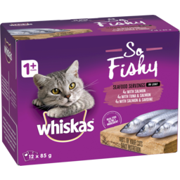 Photo of Whiskas So Fishy Wet Cat Food Seafood Servings In Loaf 12x85g Pouches