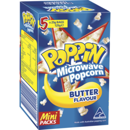 Photo of Mini Poppin Microwave Popcorn Butter Flavour 125g