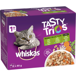 Photo of Whiskas Tasty Trios Wet Cat Food Mixed Selection In Gravy 12x85g Pouches
