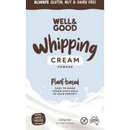 Photo of Well & Good Plant Based Vanilla Gluten, Nut & Dairy Free Whipping Cream 250g