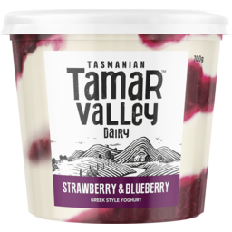 Photo of Tamar Valley Greek Style Yoghurt Strawberry & Blueberry 700g