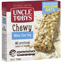 Photo of Uncle Tobys Chewy White Choc Chip Bars 6 Pack