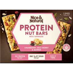 Photo of Nice&Natural Protein Nut Bars Cranberry Goji Berry Quinoa 5pk 165g 165g