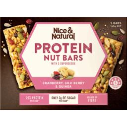 Photo of Nice & Natural Protein Nut Bars Cranberry Goji Berry Quinoa 5pk 165g