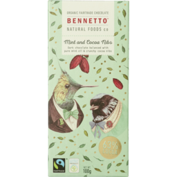 Photo of Bennetto Organic Chocolate Mint & Cocoa Nibs 100gm