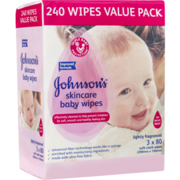 Photo of Johnsons Baby Skincare Wipes 3x80s Value Pack