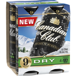 Photo of Canadian Club & Dry Premium Strength 9% 4 X 250ml Can