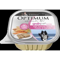 Photo of Optimum Grain Free Wet Dog Food Salmon, Sweet Potato & Carrots 85g Tray