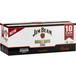 Photo of Jim Beam White Double Serve & Cola Cans - 10 X 375ml