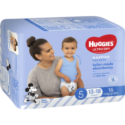 Photo of Huggies Ultra Dry Nappies, Boys, Size 5 Walker (13-18kg), 16 Nappies Convenience Packs