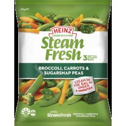 Photo of Heinz Steamfresh Broccoli Carrot & Sugarsnap Peas 450g