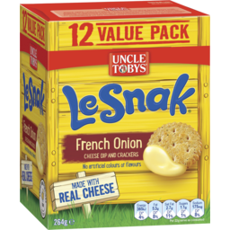 Photo of Uncle Tobys Le Snak Value Pack 12 French Onion Cheese Dip With Crispbread 264g