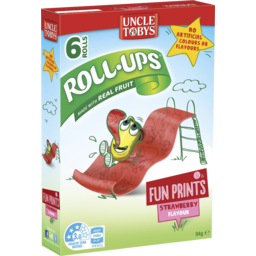 Photo of Uncle Tobys Roll Ups Fun Prints Strawberry 6pk 94g