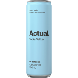 Photo of Actual. Vodka Seltzer Pure 4.2% 300ml Can