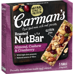Photo of Carmans Roasted Nut Bars With Almond Cashew & Cranberry 5x175g