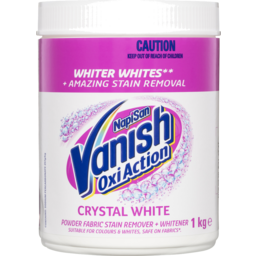 Photo of Vanish Napisan Oxi Action Powder Fabric Stain Remover + Whitener Crystal White 1kg