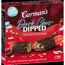 Photo of Carman's Dark Choc Dipped Cherry & Coconut Bars 6x35g