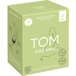 Photo of Tom Organic Ultra Thin Regular Organic Cotton Pads With Wings 10 Pack