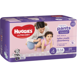 Photo of Huggies Ultra Dry Nappy Pants Girl Size 4 (9-14kg) 29 Pack