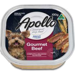 Photo of Apollo Gourmet Dog Food, Adult 1+ Years, Gourmet Beef 100g