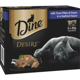 Photo of Dine Desire Wet Cat Food Tuna Fillets & Prawn In A Seafood Sauce 6x85g Can