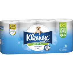 Photo of Kleenex Complete Clean Toilet Tissue, Long Roll, 8 Rolls