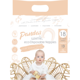 Photo of Pandas by Luvme ECO Disposable BAMBOO Nappies MEDIUM 6-11kg 18's