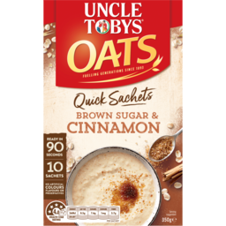 Photo of Uncle Tobys Rolled Oats Quick Sachets Brown Sugar & Cinnamon 10 Pack 350g