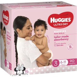 Photo of Huggies Ultra Dry Nappies Girls Size 3 (6-11kg) 90 Pack (Jumbo)