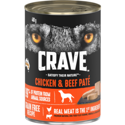 Photo of Crave Chicken & Beef Pate Dog Food 400g