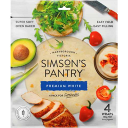 Photo of Simson's Pantry Wraps White 4 Pack 180gm