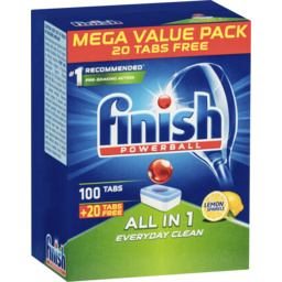 Photo of Finish Powerball All In One Dishwasher Tablets Lemon 100 + 20 Pack