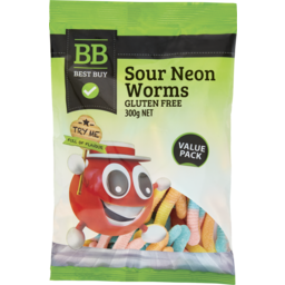 Photo of Best Buy Sour Neon Worms 300g