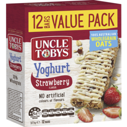 Photo of Uncle Tobys Yoghurt Topps Strawberry Flavour 12 Bars Value Pack 375g