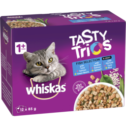 Photo of Whiskas Tasty Trios Wet Cat Food Fish Selection In Gravy 12x85g Pouches
