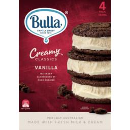 Photo of Bulla Creamy Classics Vanilla Ice Cream Sandwiches 4pk