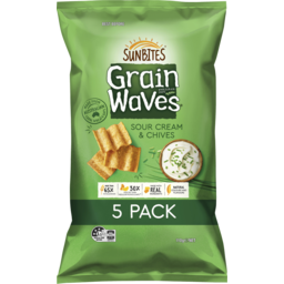 Photo of Sunbites Grain Waves Sour Cream & Chives Wholegrain Chips 5 Pack