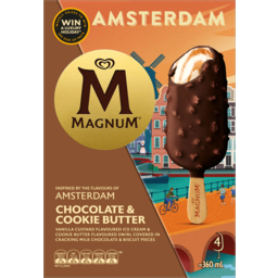 Photo of Streets Magnum Amsterdam Chocolate Cookie & Butter Ice Cream 4 Pack 360ml