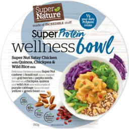 Photo of Super Nature Super Protein Wellness Bowl – Super Nut Satay Chicken With Quinoa, Chickpea & Wild Rice Mix 350gm