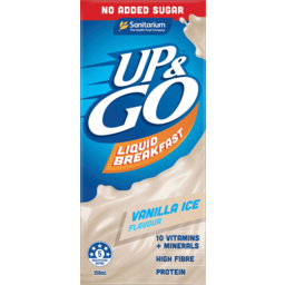 Photo of Sanitarium Up & Go Vanilla Ice No Added Sugar Flavour Liquid Breakfast 350ml