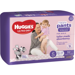 Photo of Huggies Ultra Dry Nappy Pants, Girls, Size 5 (12-17kg), 52 Pack (Jumbo)