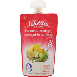 Photo of Wattie's For Baby Baby Food Banana Mango Courgette & Peas Pouch 6+ Months 120g